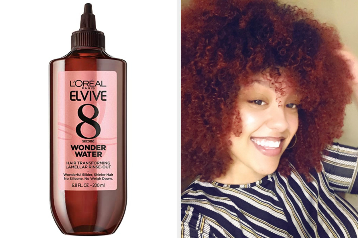The bottle and a picture of a review with3c type hair