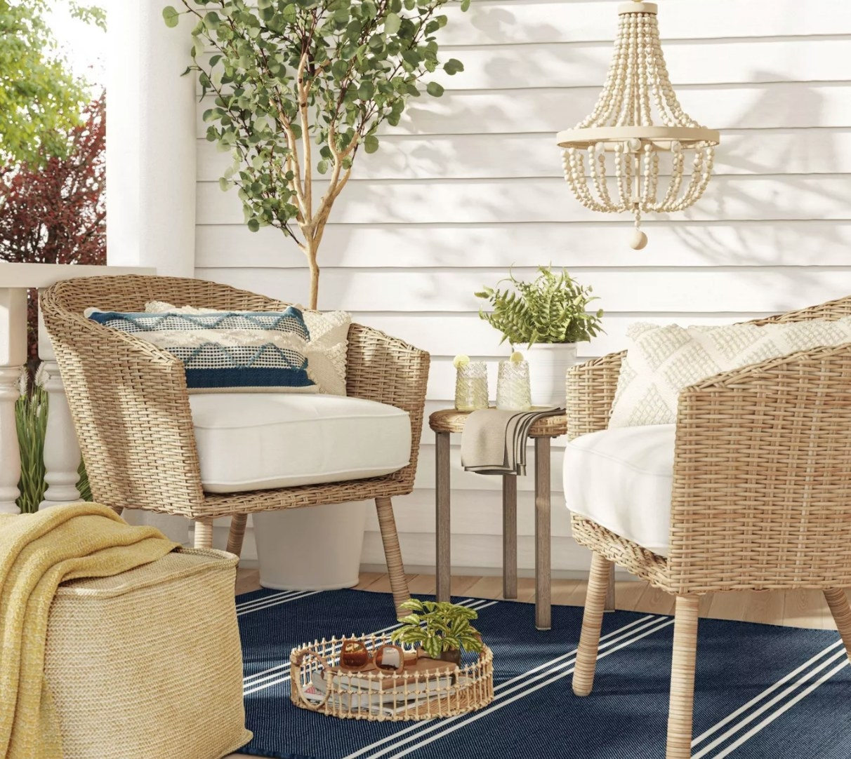 The neutral wicker chairs