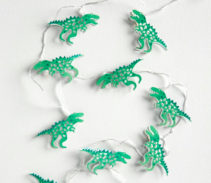 string light with green dinosaurs