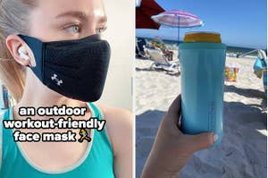 face mask and drink cooler