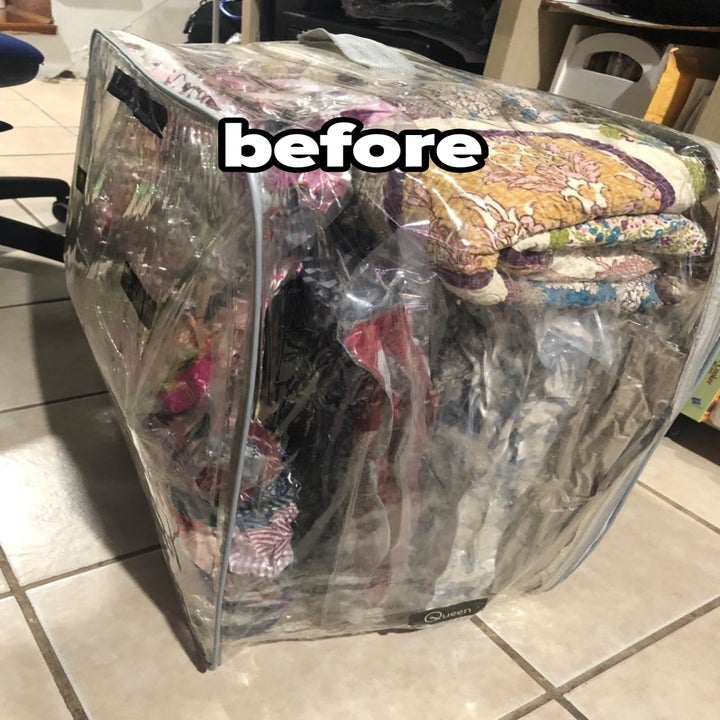 reviewer before image of a vacuum seal bag full of blankets and clothes