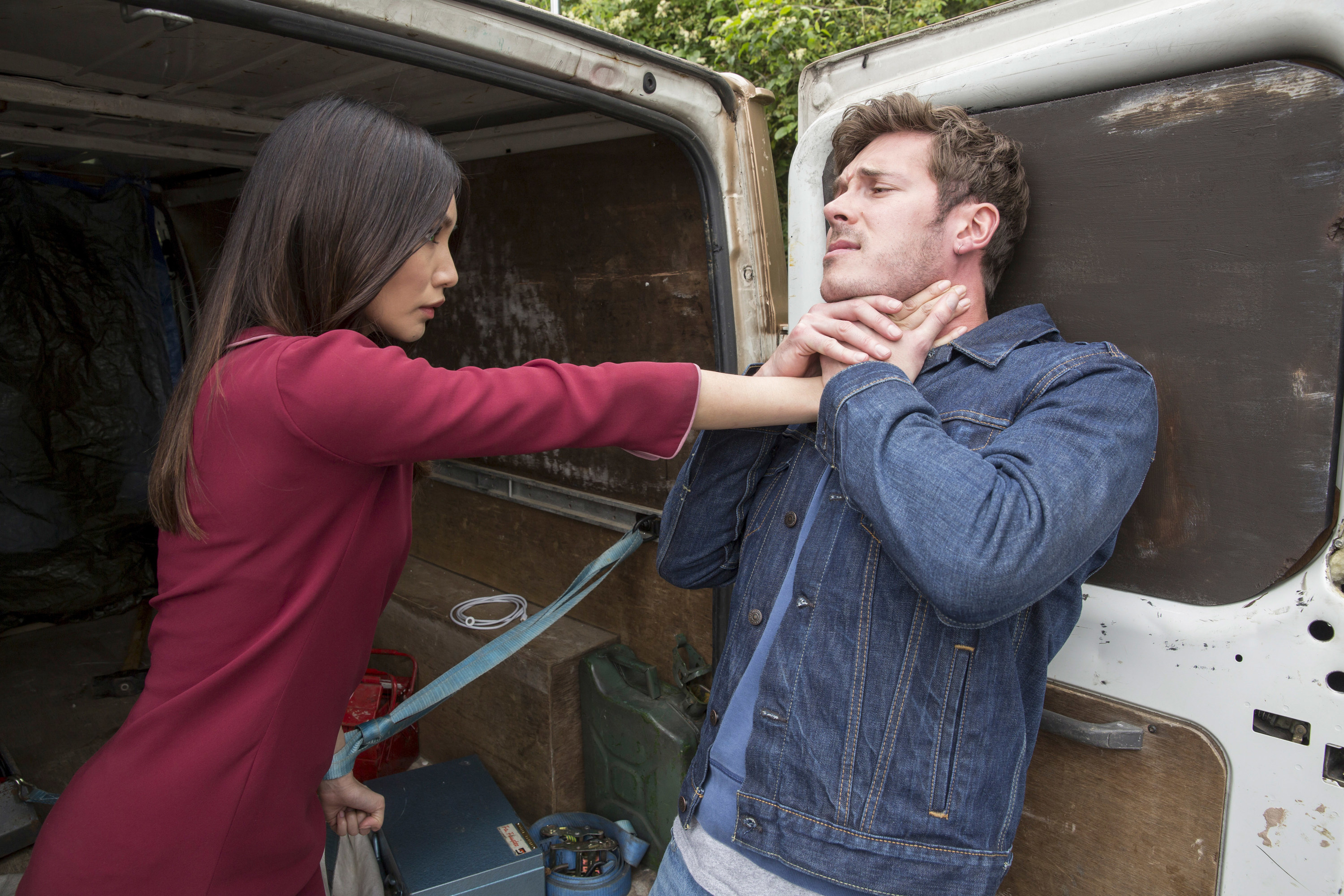 HUMANS, (from left): Gemma Chan, Sam Palladio, (Season 2, ep. 205, aired in US on March 13, 2017)