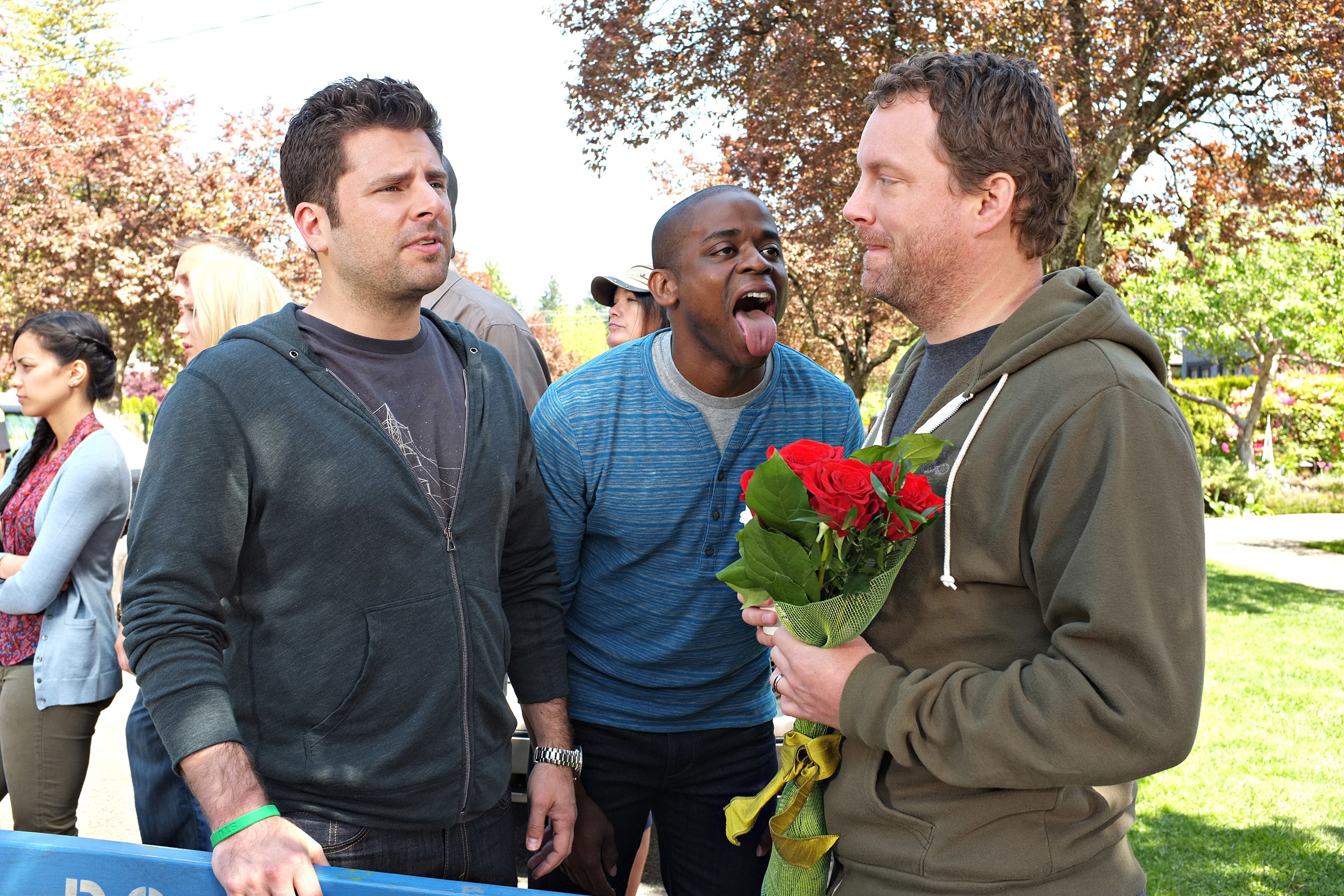PSYCH, l-r: James Roday, Dule Hill in 'S.E.I.Z.E. the Day' (Season 8, Episode 2, aired January 15, 2014)