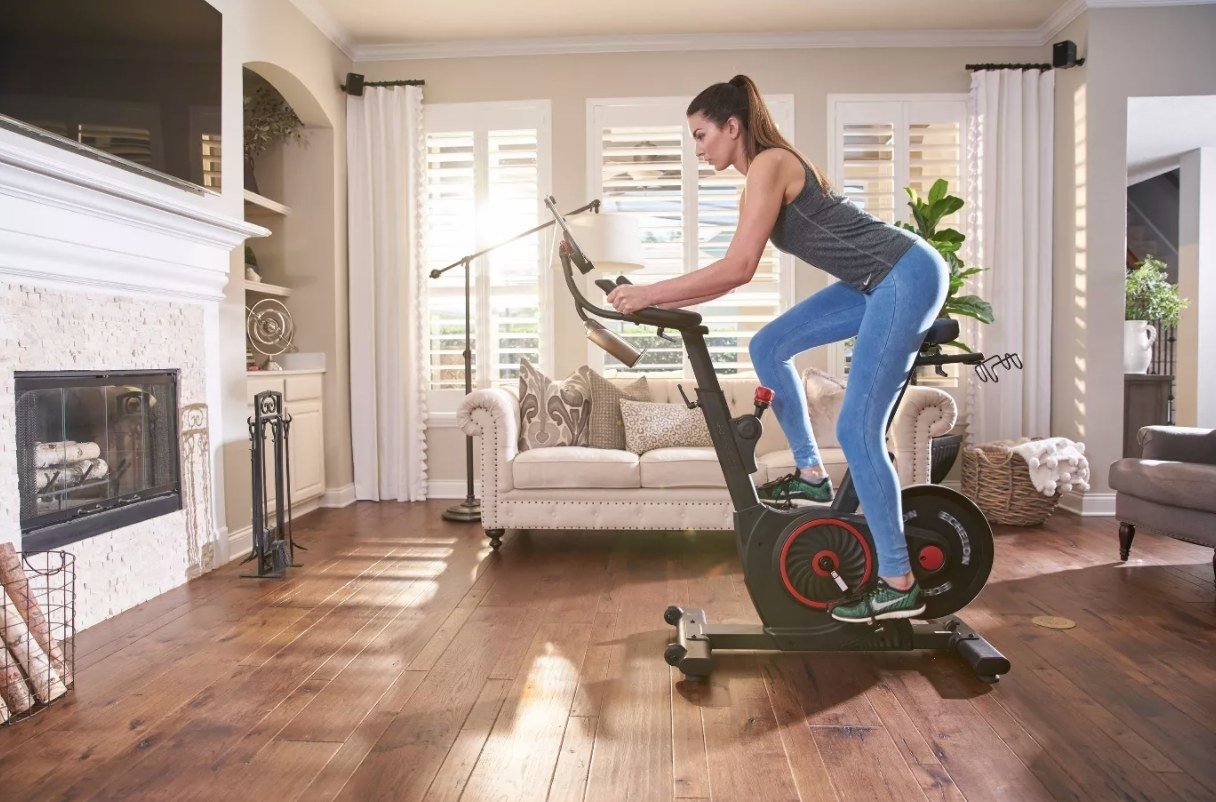 model on the workout bike
