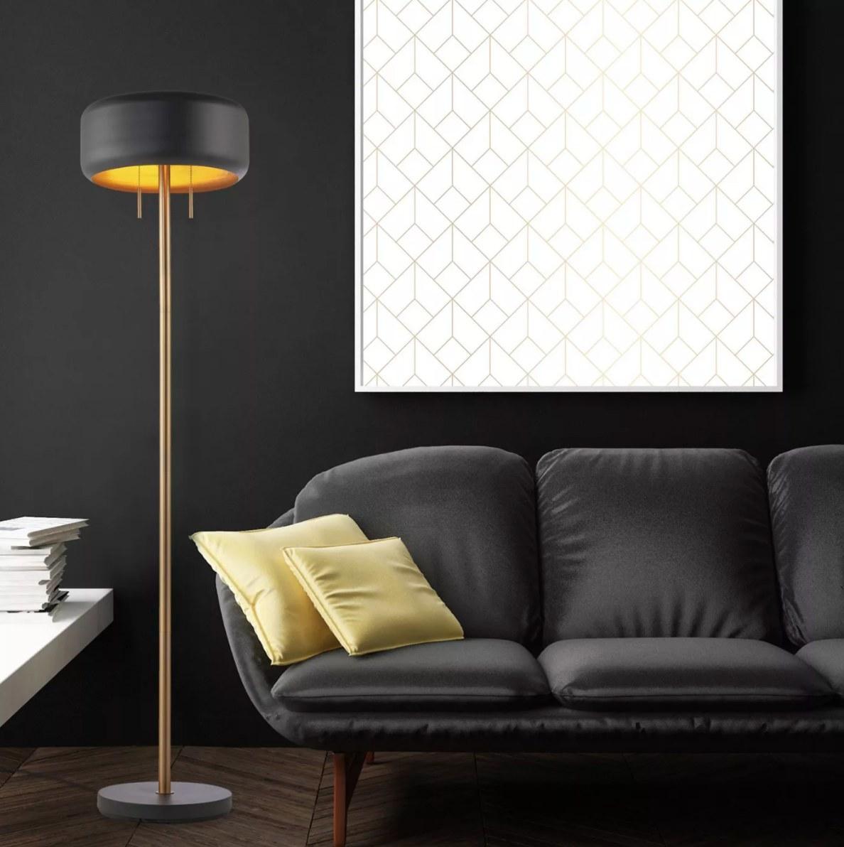 The metallic floor lamp in dark gray