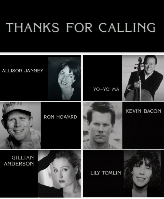 Some guest stars included Allison Janney, Yo-Yo Ma, Ron Howard, Kevin Bacon, Gillian Anderson, and Lily Tomlin