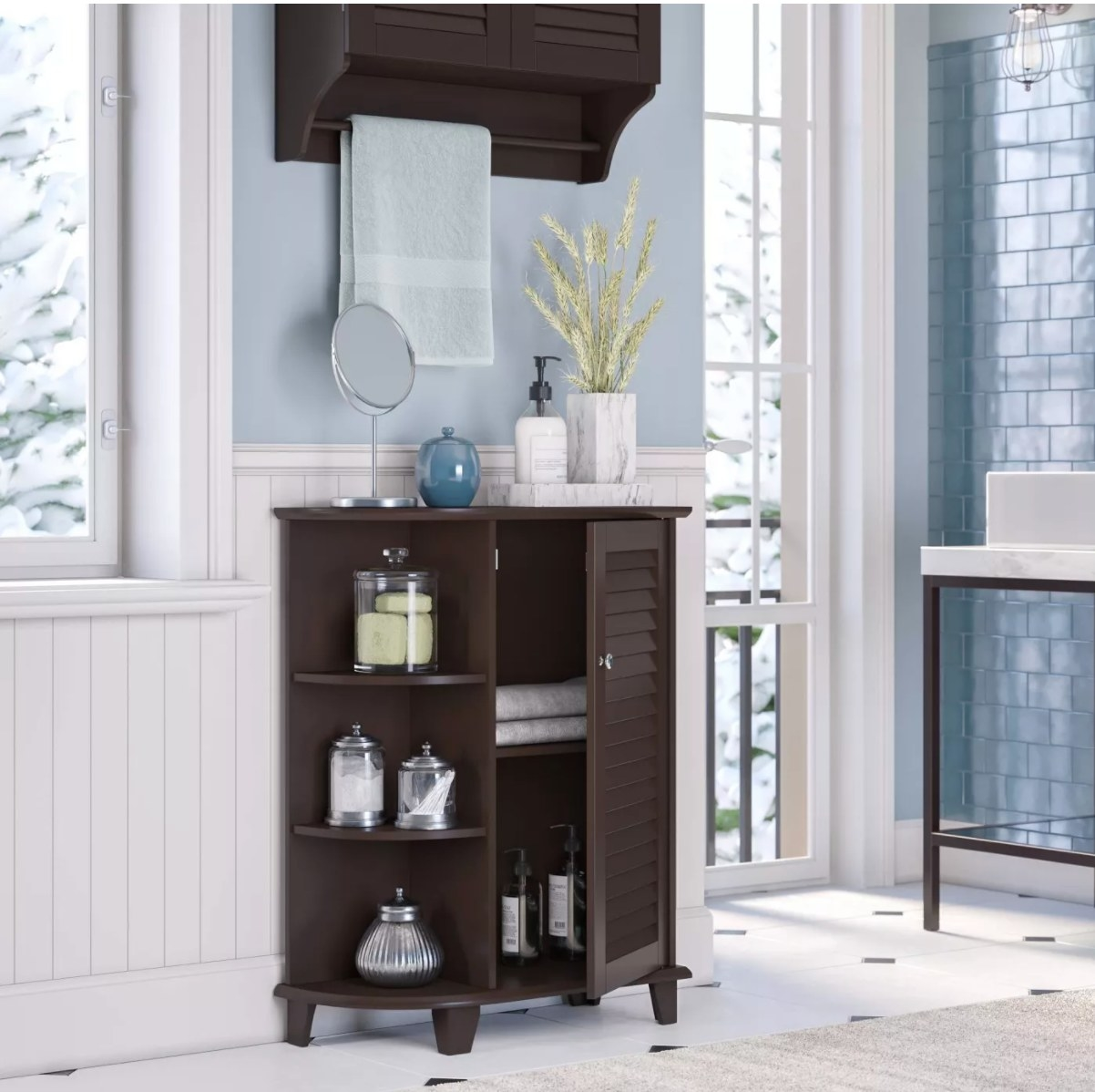 The floor cabinet with side shelves in espresso brown