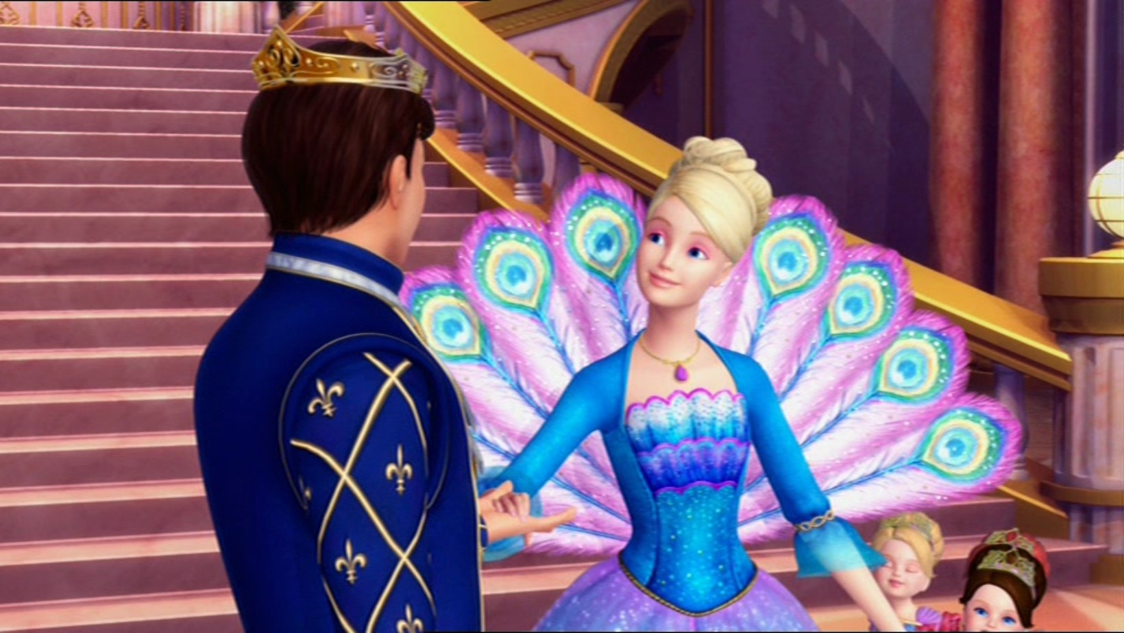 Ro stands in front of a prince wearing an extravagant ballgown