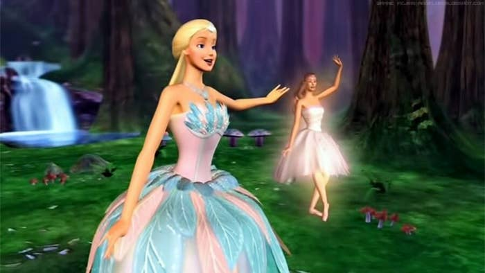 Odette does ballet in a field near a waterfall