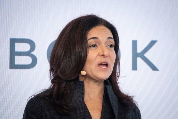 Sheryl Sandberg speaking at a conference