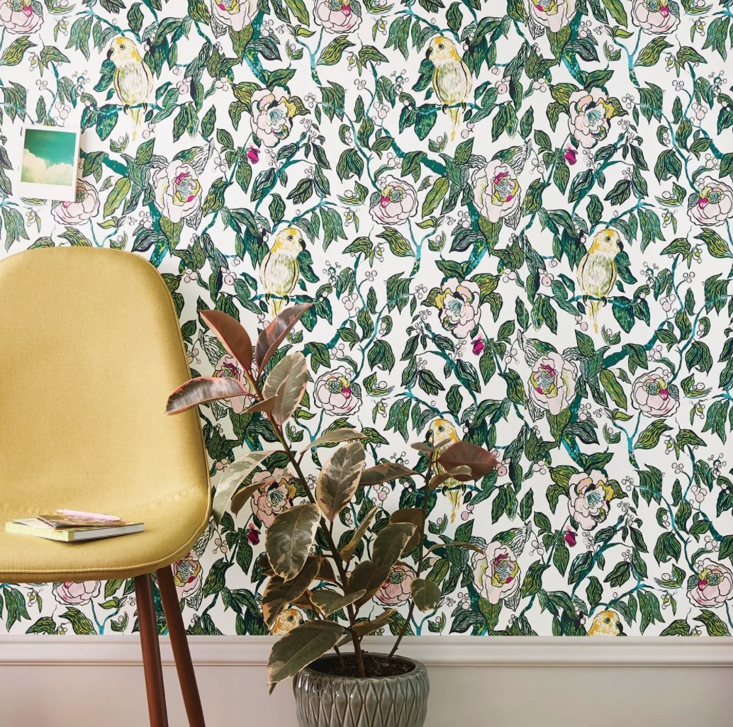 The wallpaper on a wall
