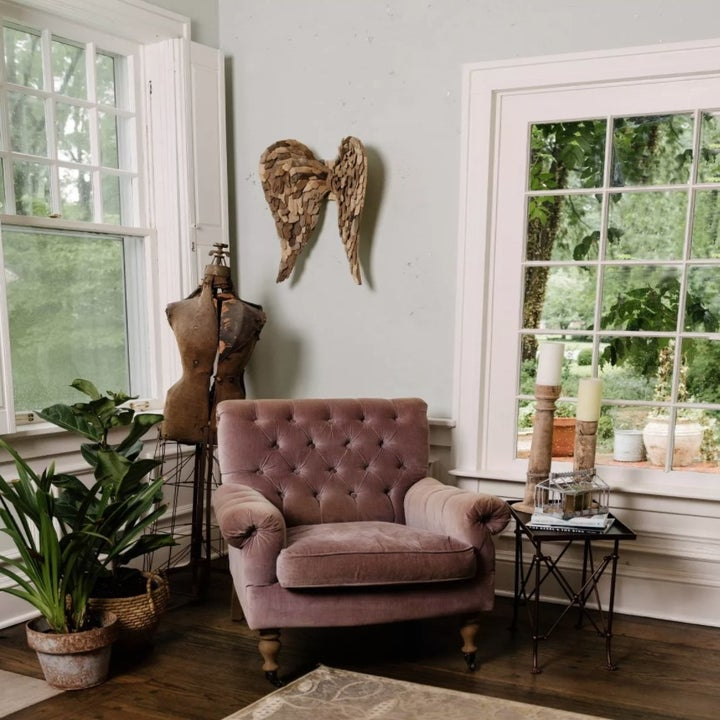 The angel wings hung up in a living room
