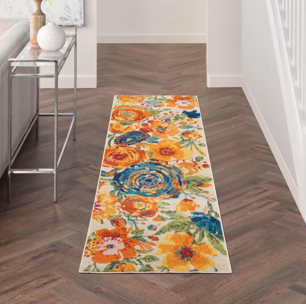 The rug on a living room floor