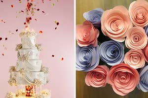 Thumbnail of  wedding cake and paper flowers