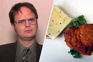 Dwight  Schrute is on the left with his head tilted with a chicken sandwich on the right