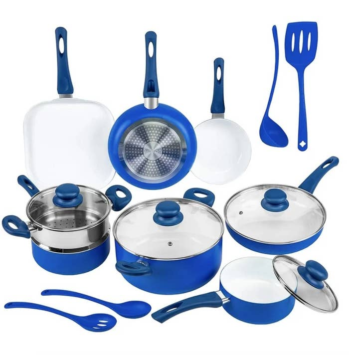 Complete blue cookware set