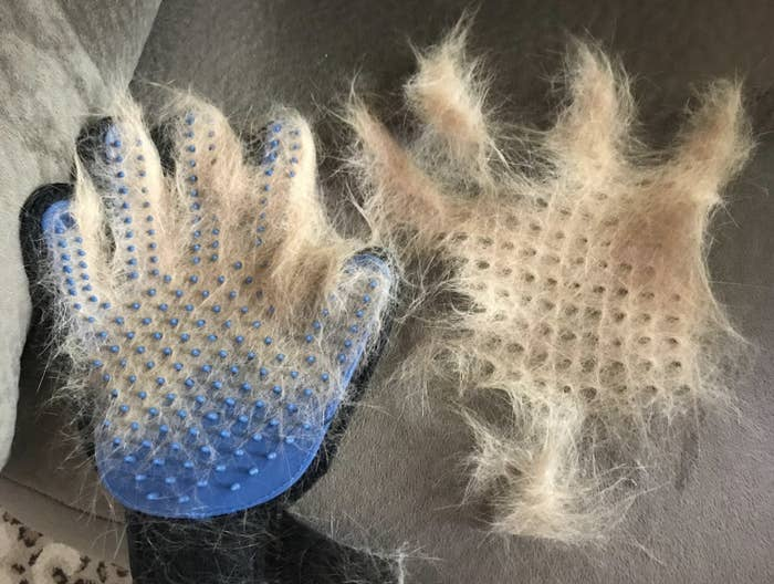 The grooming gloves with fur on it