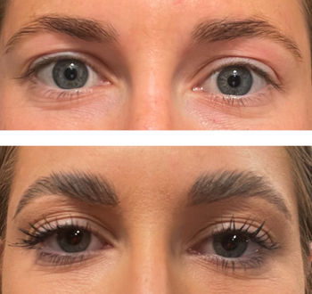 before/after of reviewer's eyebrows with after photo showing fluffy looking layered eyebrows