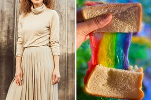 On the left, someone wearing a turtleneck and long skirt, and on the right, someone pulling a grilled cheese sandwich in half