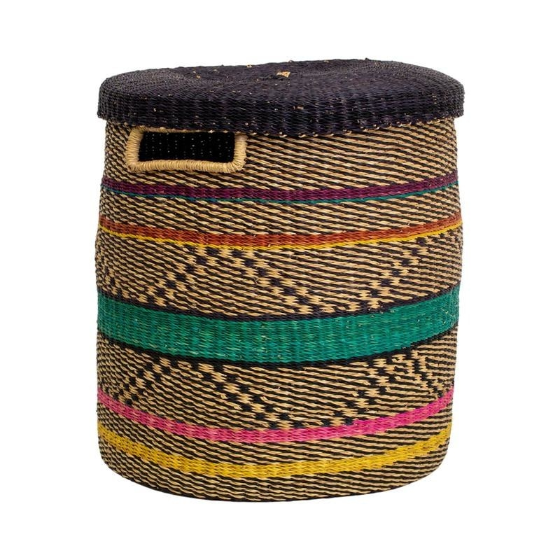 lidded cylindrical basket with a geometric natural, black, teal, pink, purple, and yellow stripe pattern