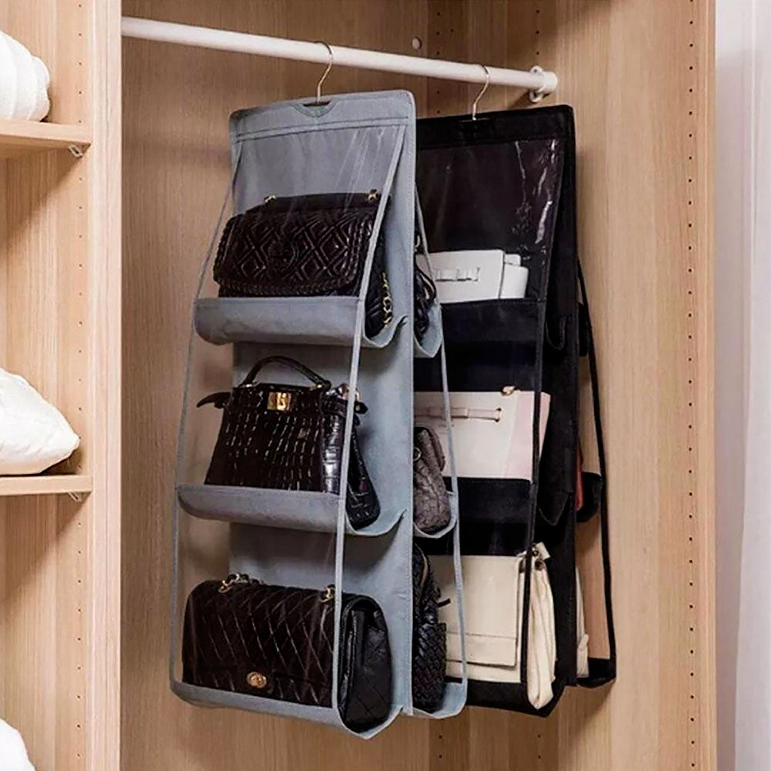 a hanging organizer for six hand bags in a closet