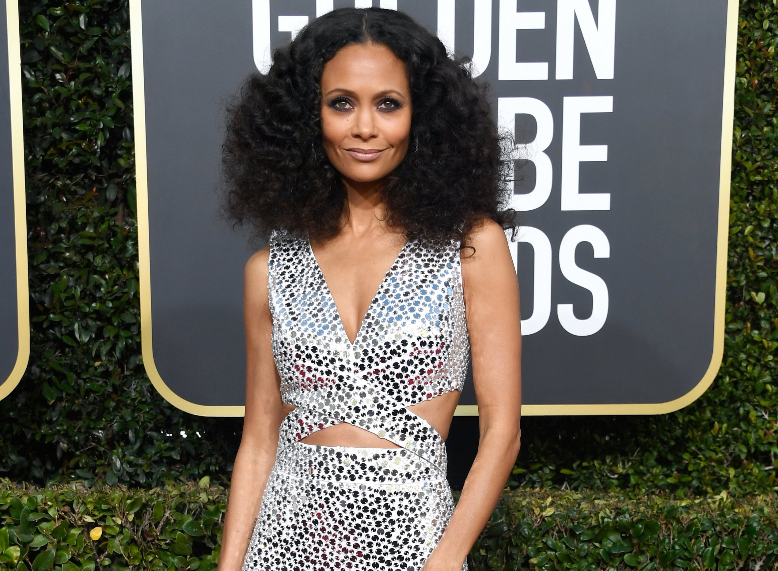 Thandiwe wears a shimmering dress at the Golden Globes
