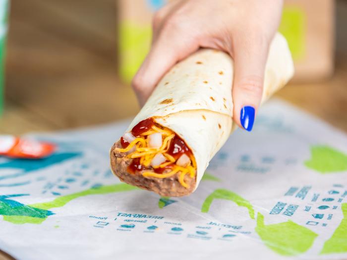 A Taco Bell bean and cheese burrito.