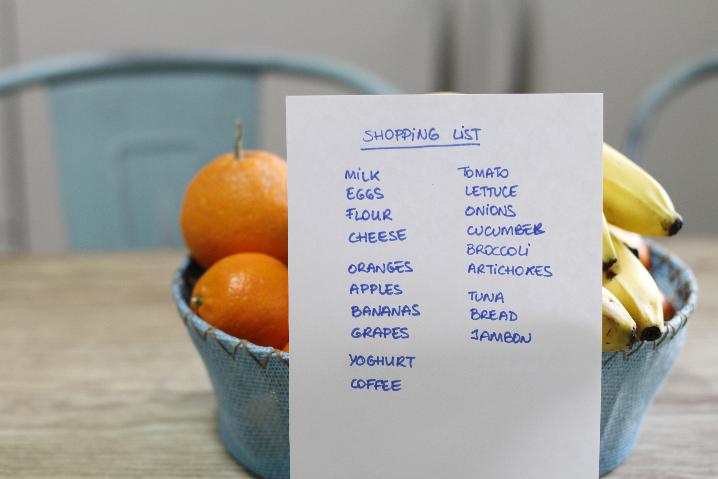 Grocery shopping list written out on a piece of paper in front of a bowl of oranges and bananas