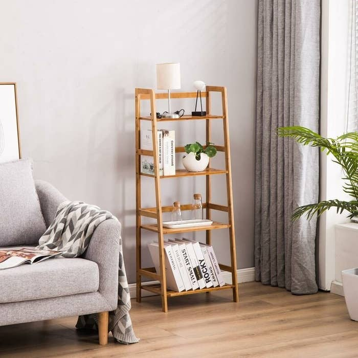 Display shelf styled in living room
