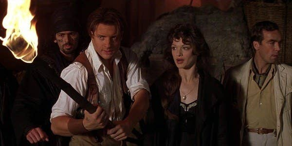 L-R: Oded, Rick, Evelyn and Jonathan in The Mummy