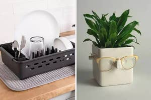 on left a dish drainer and on right a white plant holder