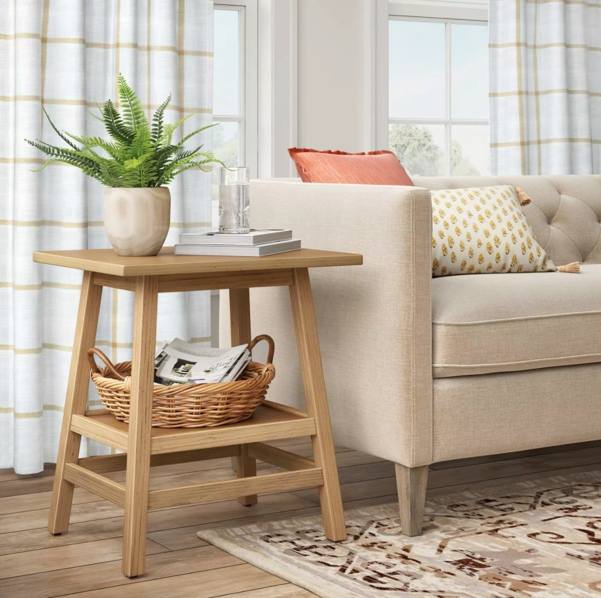 the light wood end table