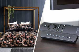 to the left: a floral bedspread, to the right: a universal remote attachment