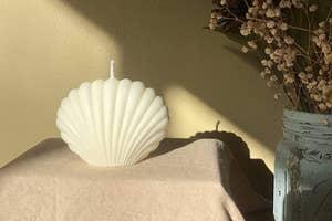 white seashell candle