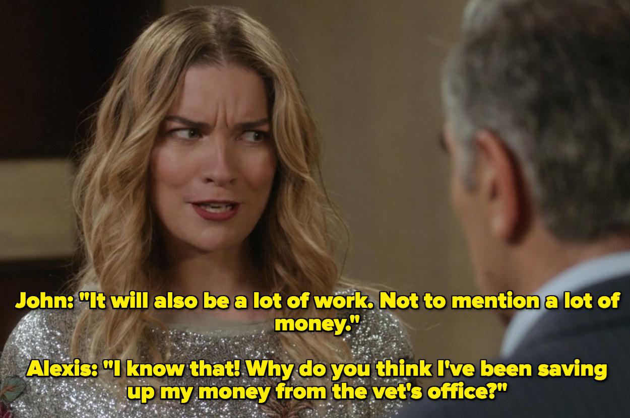 Alexis telling John she's been saving her money for class