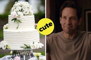 """A two tier wedding cake covered in roses and Paul Rudd as Scott Lang in the movie """"Ant-Man."""""""