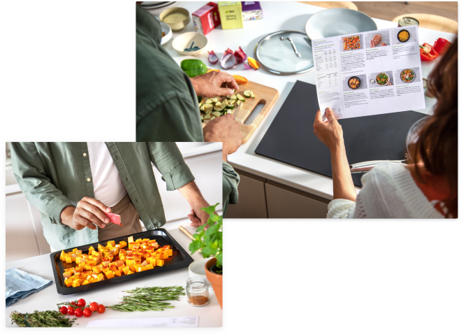 A couple using the pre-measured ingredients to make their HelloFresh meal