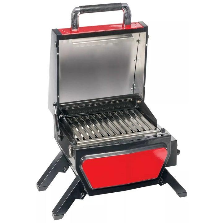a red portable mini grill
