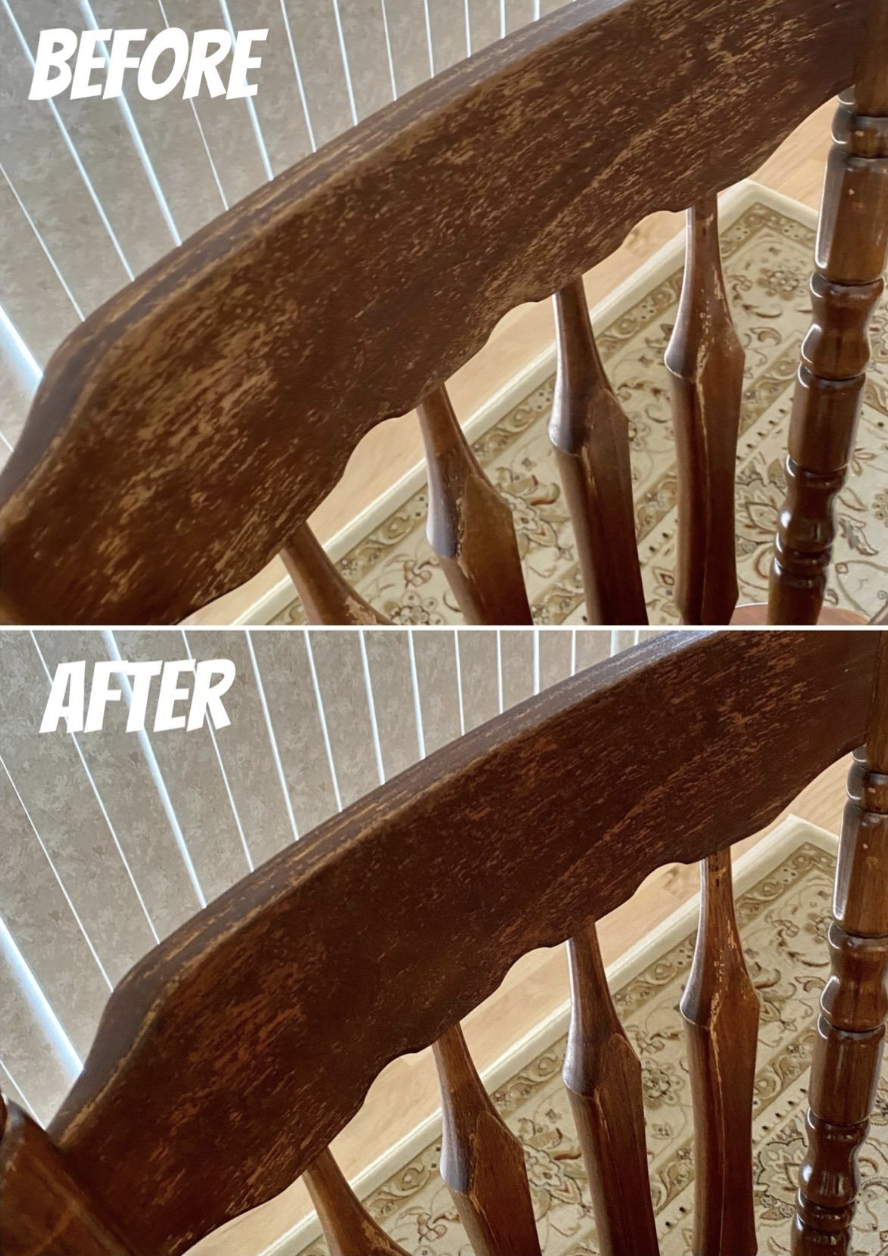 reviewer before and after of chair with scuffing on top and visibly less scuffing on bottom