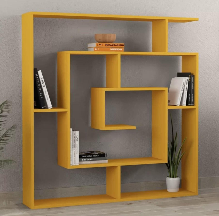 Mustard yellow geometric bookcase