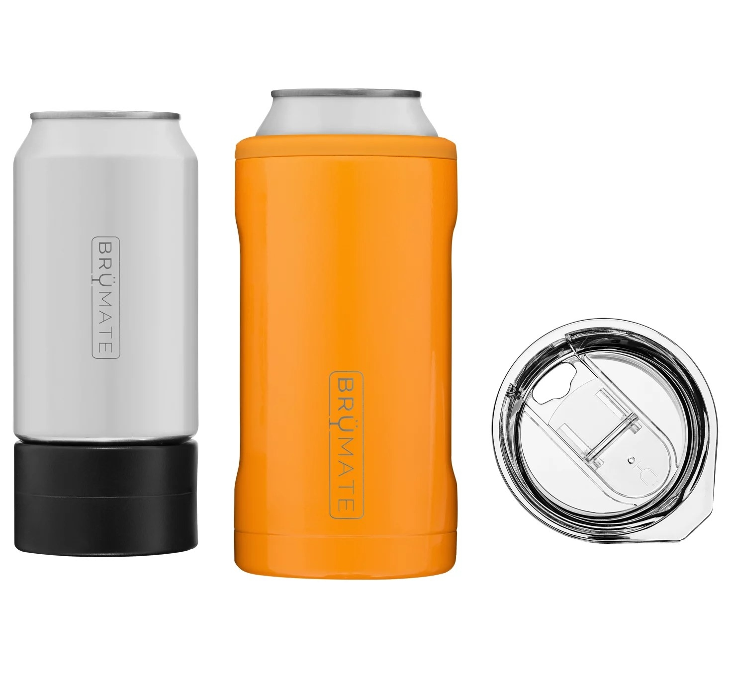 a can cooler with a clear lid