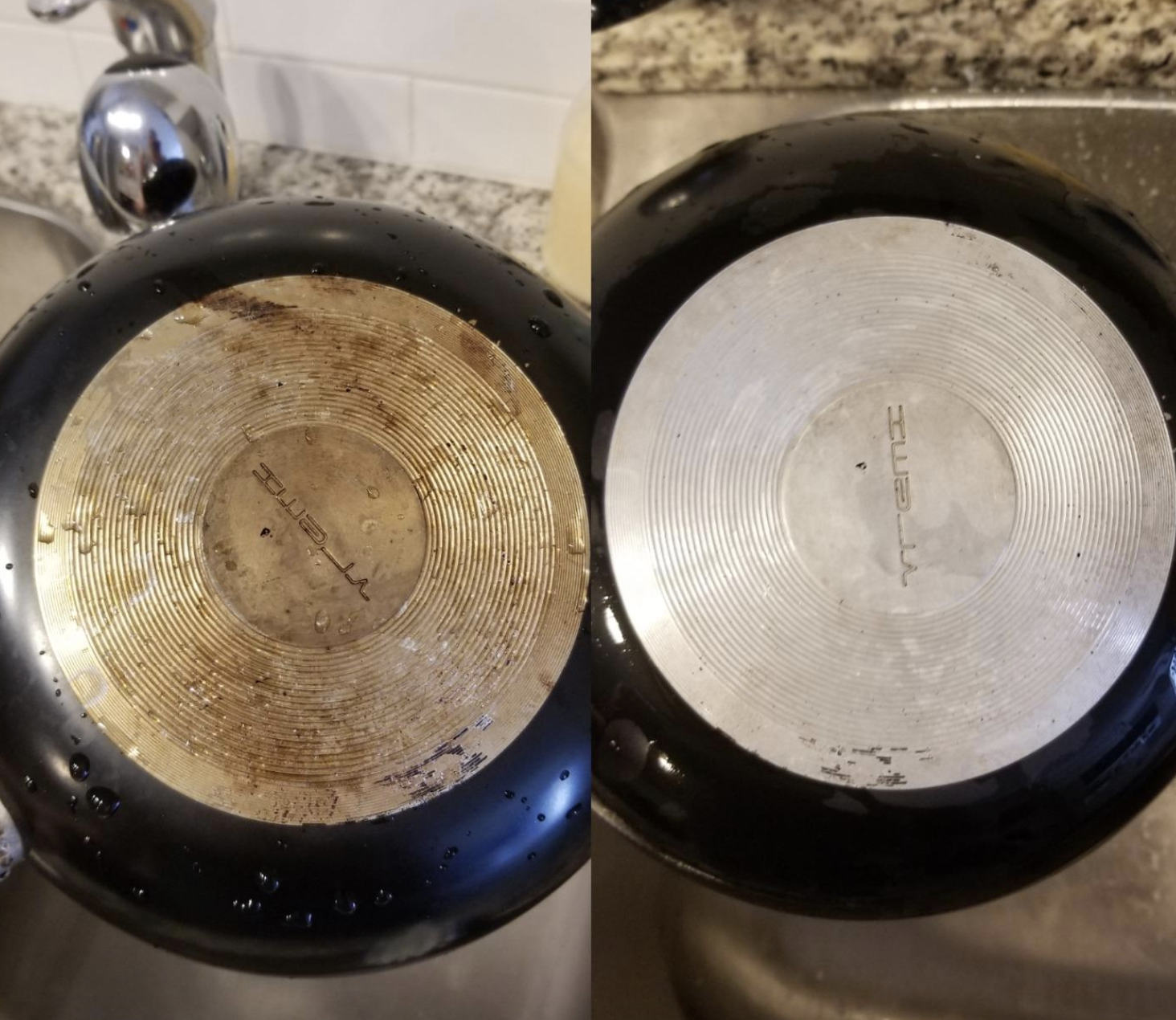 reviewer before and after photo of pan with rust stains on left and less rust stains on right