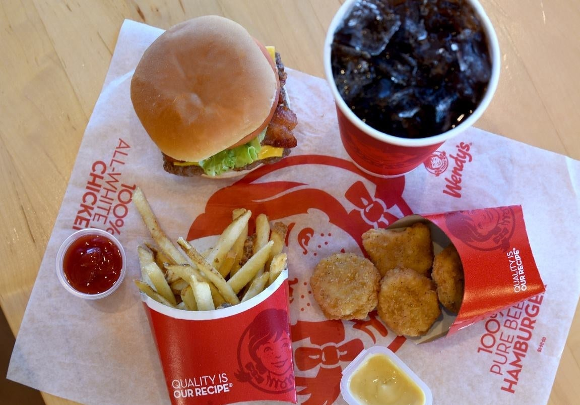 A selection of food from Wendy's