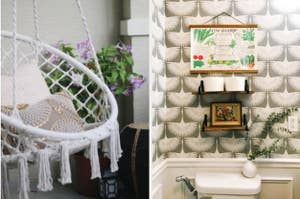 split thumbnail of hanging hammock chair, small bathroom with art deco inspired wallpaper