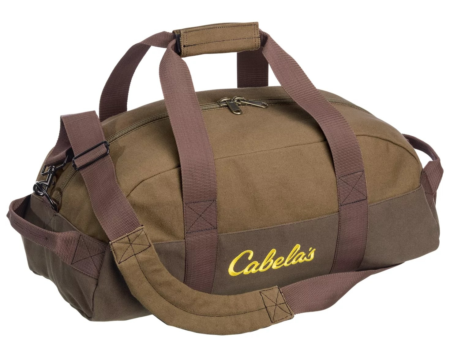 a brown duffle bag with two handles and a cross body strap