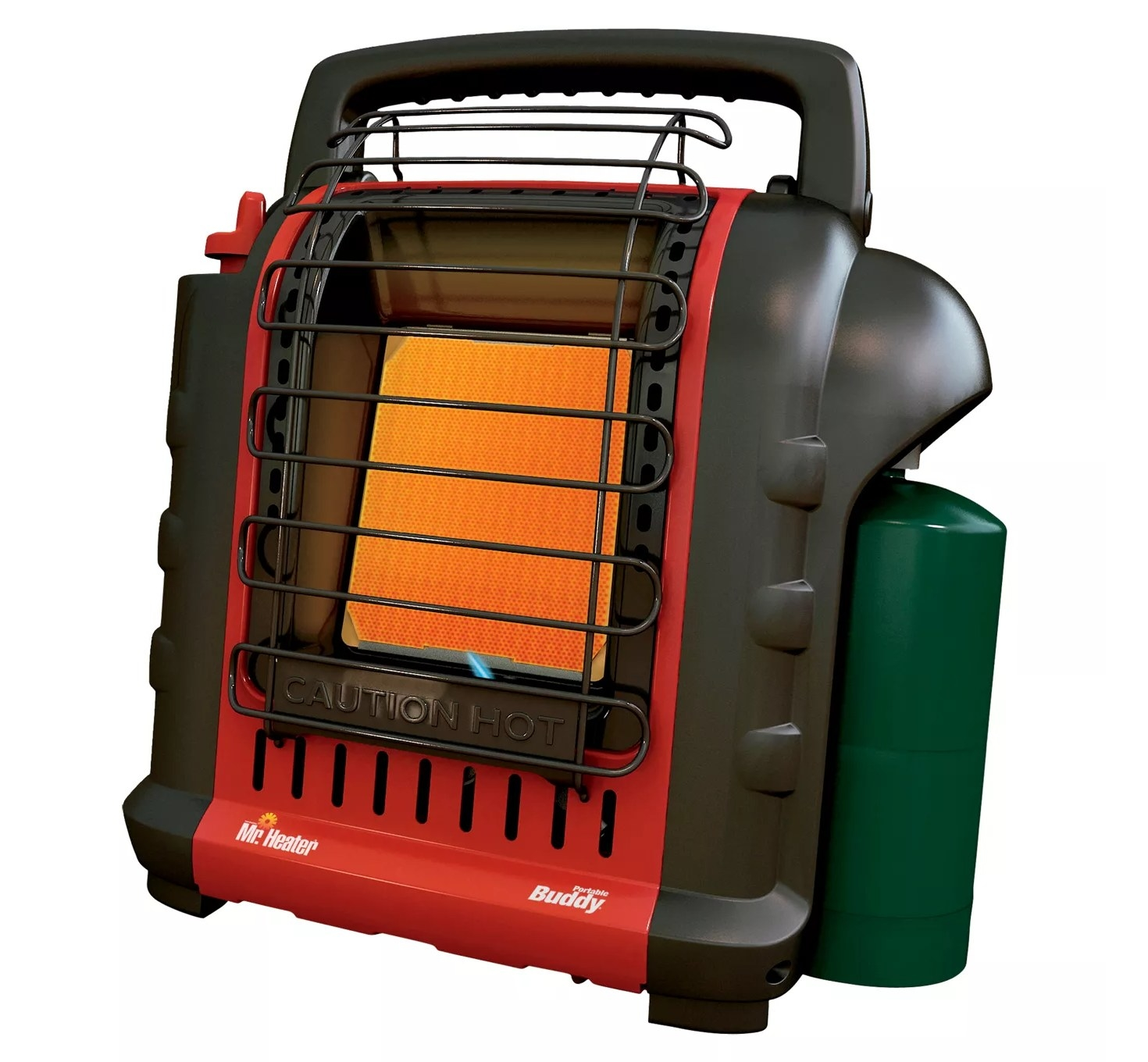 a red and black space heater
