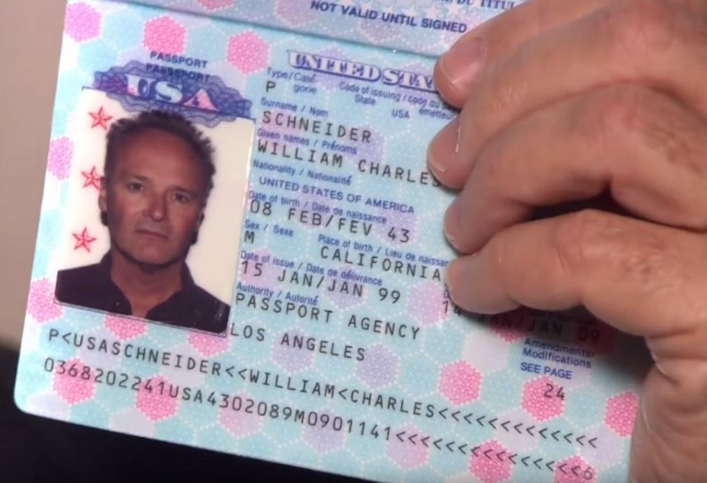 a close up of Creed's fake passport