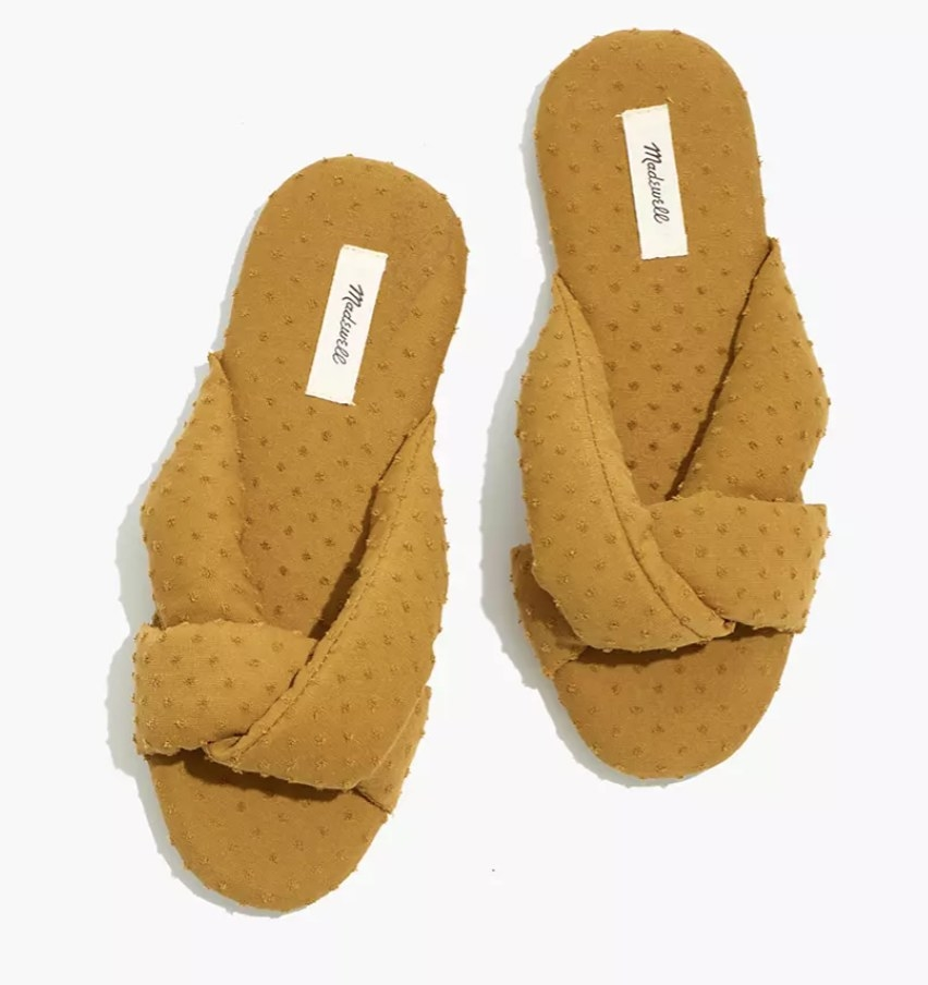 the slippers in mustard yellow