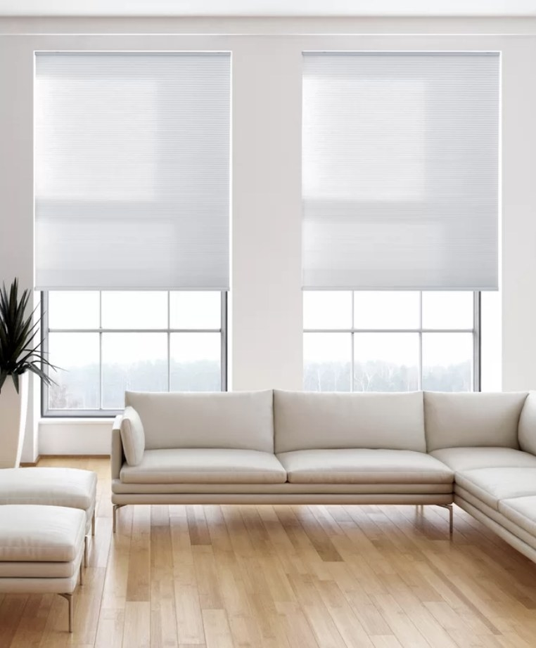 White pull down shades on windows