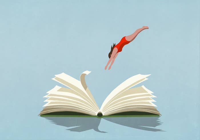illustration of a woman diving into the pages of an open book